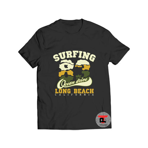Surfing Ocean Drive Long Beach T Shirt