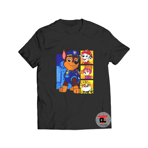 Paw Patrol the Movie Four Panel Characters Viral Fashion T Shirt